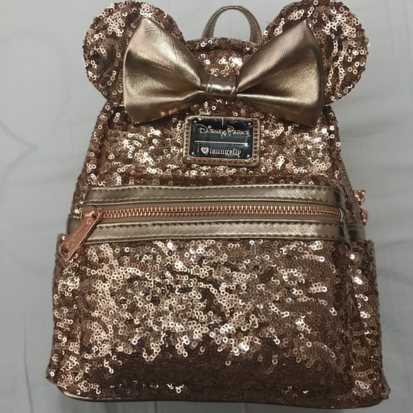 Disney Bags   Minnie Rose Gold Loungefly Backpack   Poshmark f18a24111d